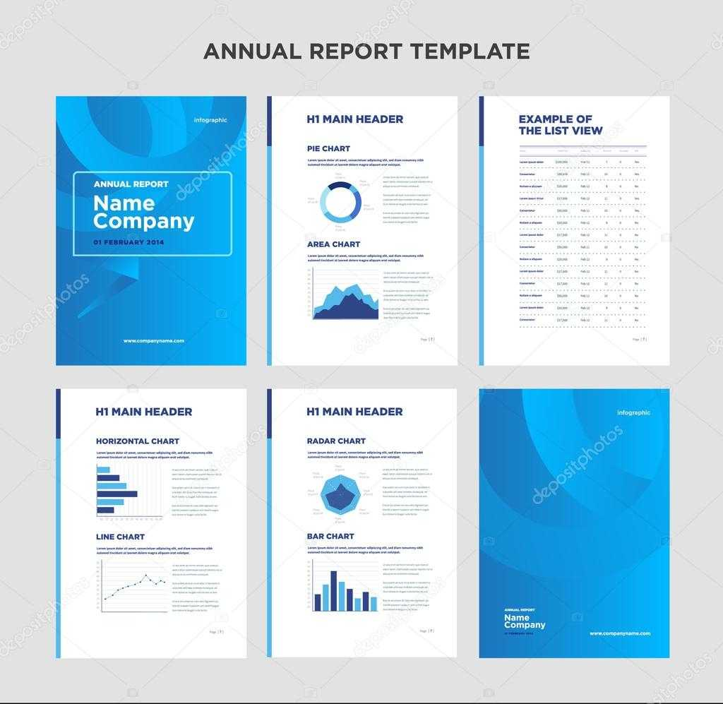 Modern Annual Report Template With Cover Design And In Illustrator Report Templates