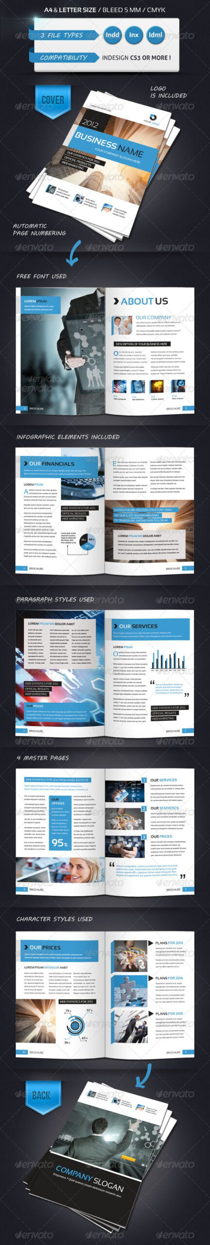 Modern Brochure Template A4 12 Pages | Publication Design With Regard To 12 Page Brochure Template