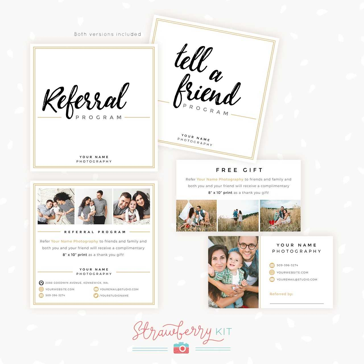 Modern Hand Lettering Referral Card Set - Strawberry Kit Inside Photography Referral Card Templates