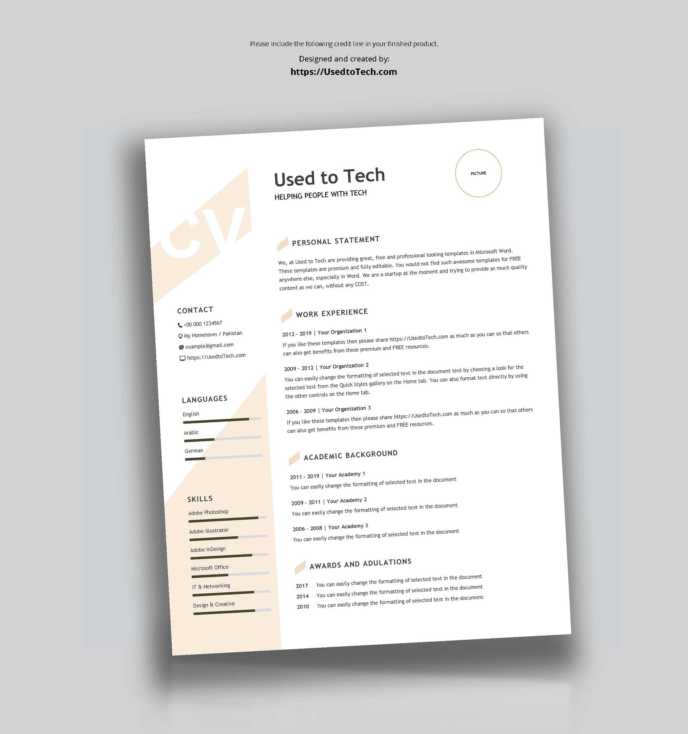 Modern Resume Template In Word Free - Used To Tech Intended For How To Find A Resume Template On Word