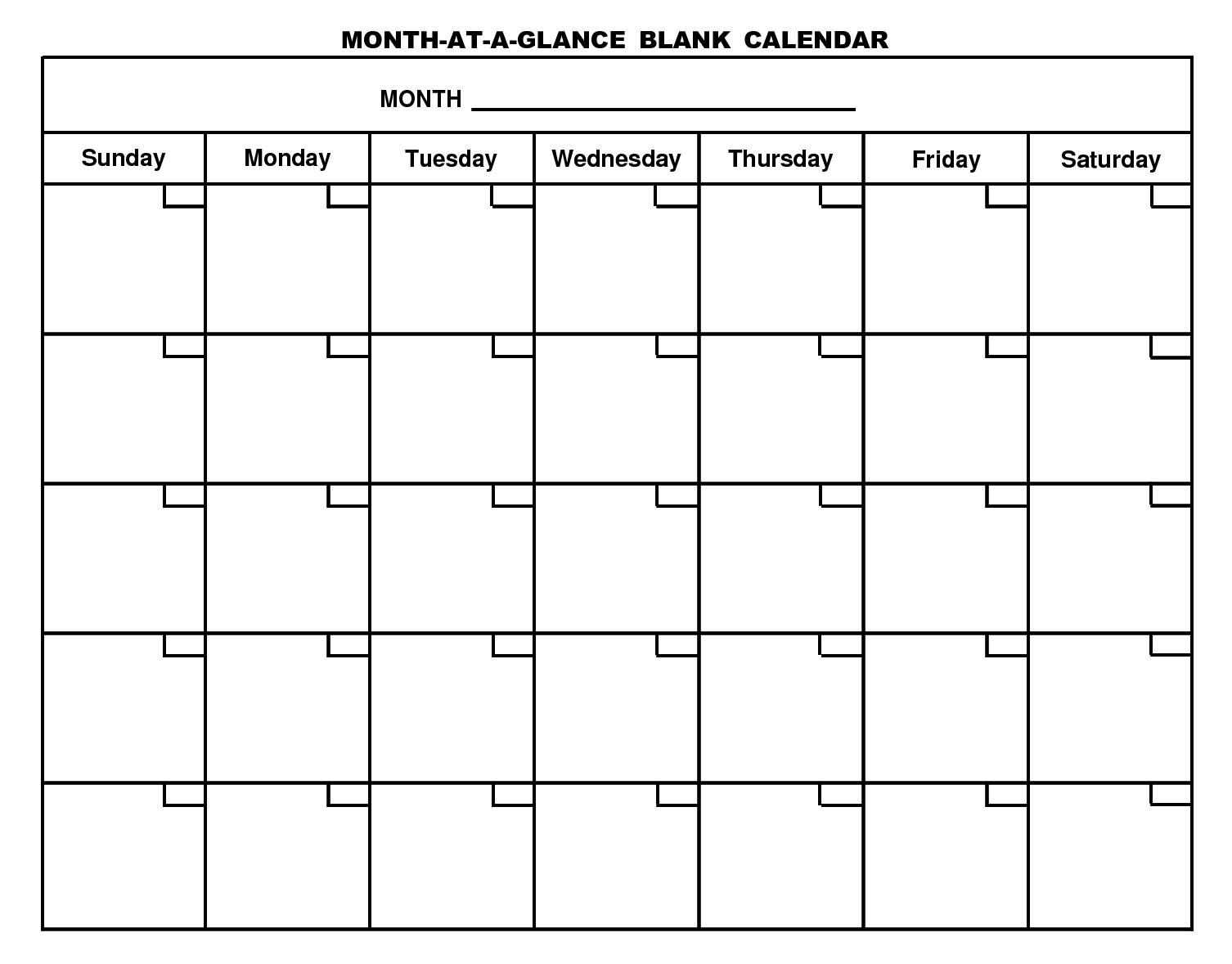 Month At A Glance Blank Calendar Template - Atlantaauctionco For Month At A Glance Blank Calendar Template