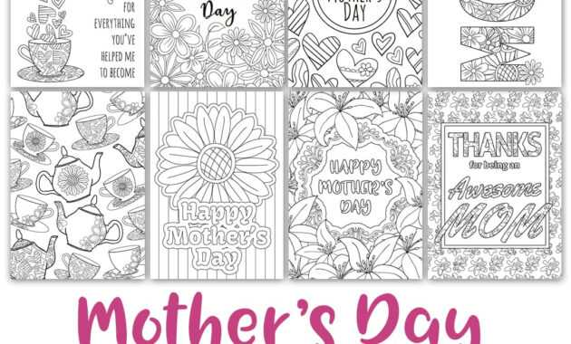 Mother's Day Coloring Cards | 8 Pack in Mothers Day Card Templates