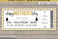 Mother's Day Spa Gift Voucher – Gold Glitter pertaining to Spa Day Gift Certificate Template