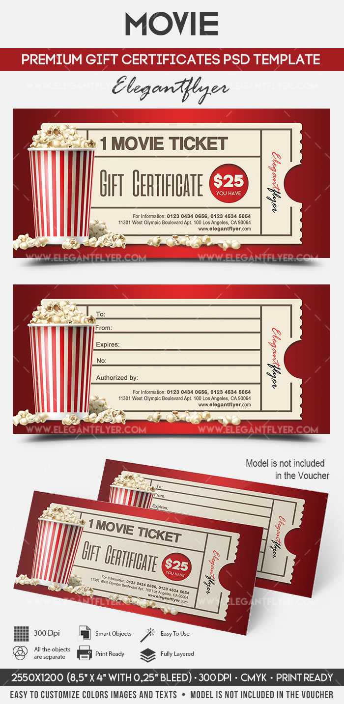 Movie Gift Certificate Psd Printable In Movie Gift Certificate Template
