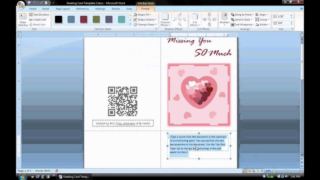 Ms Word Tutorial (Part 1) - Greeting Card Template, Inserting And  Formatting Text, Rotating Text For Microsoft Word Birthday Card Template