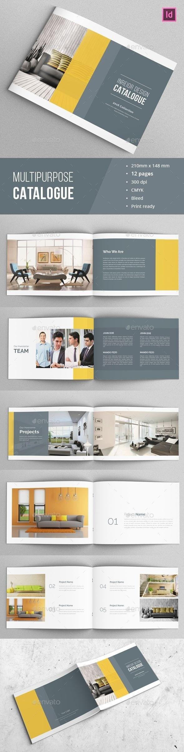 Multipurpose Brochure / Catalogue Template This Is 12 Page Throughout 12 Page Brochure Template