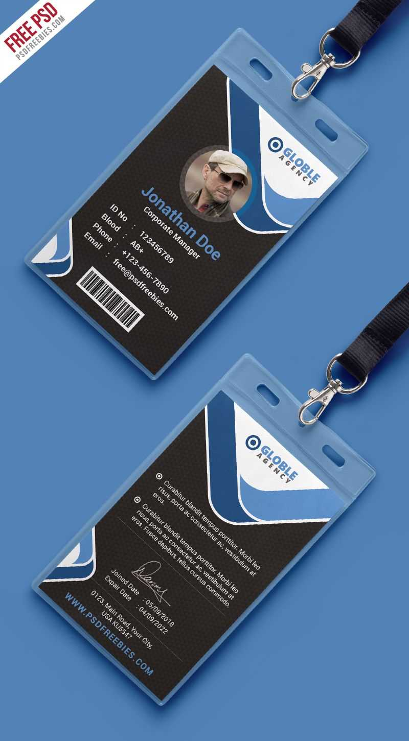 Multipurpose Dark Office Id Card Free Psd Template | Psd With Regard To Id Card Design Template Psd Free Download