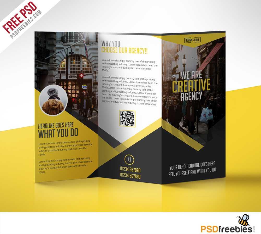 Multipurpose Trifold Business Brochure Free Psd Template In 3 Fold Brochure Template Psd