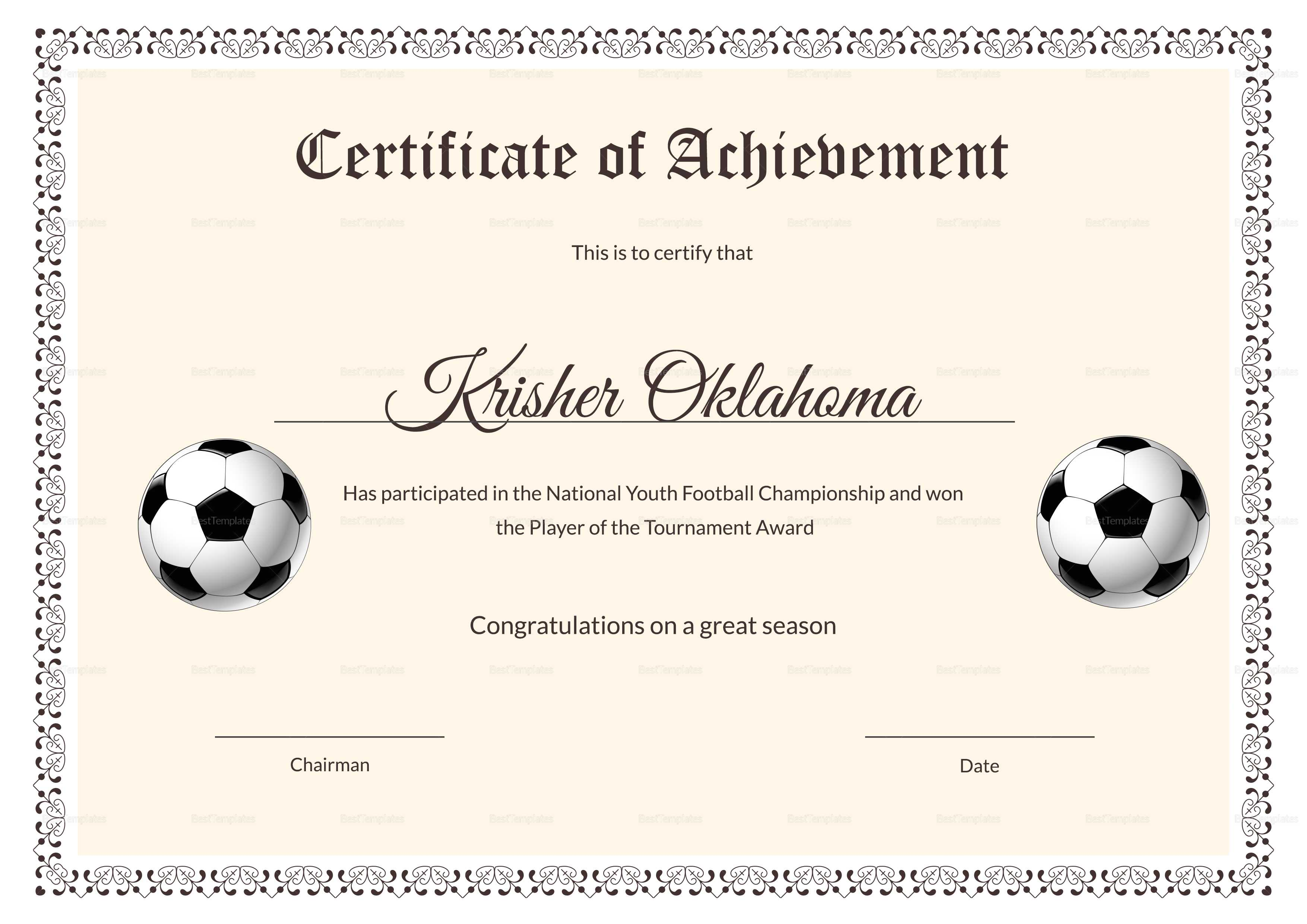 National Youth Football Certificate Template Within Football Certificate Template