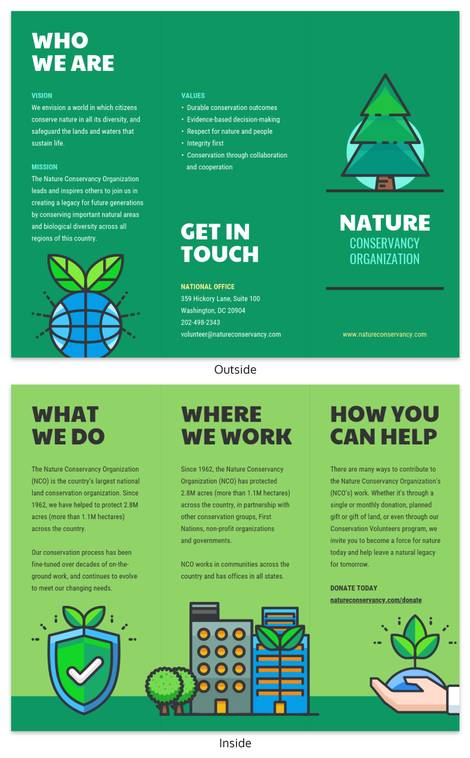 Nature Tri Fold Brochure Template – Venngage Within Volunteer Brochure Template