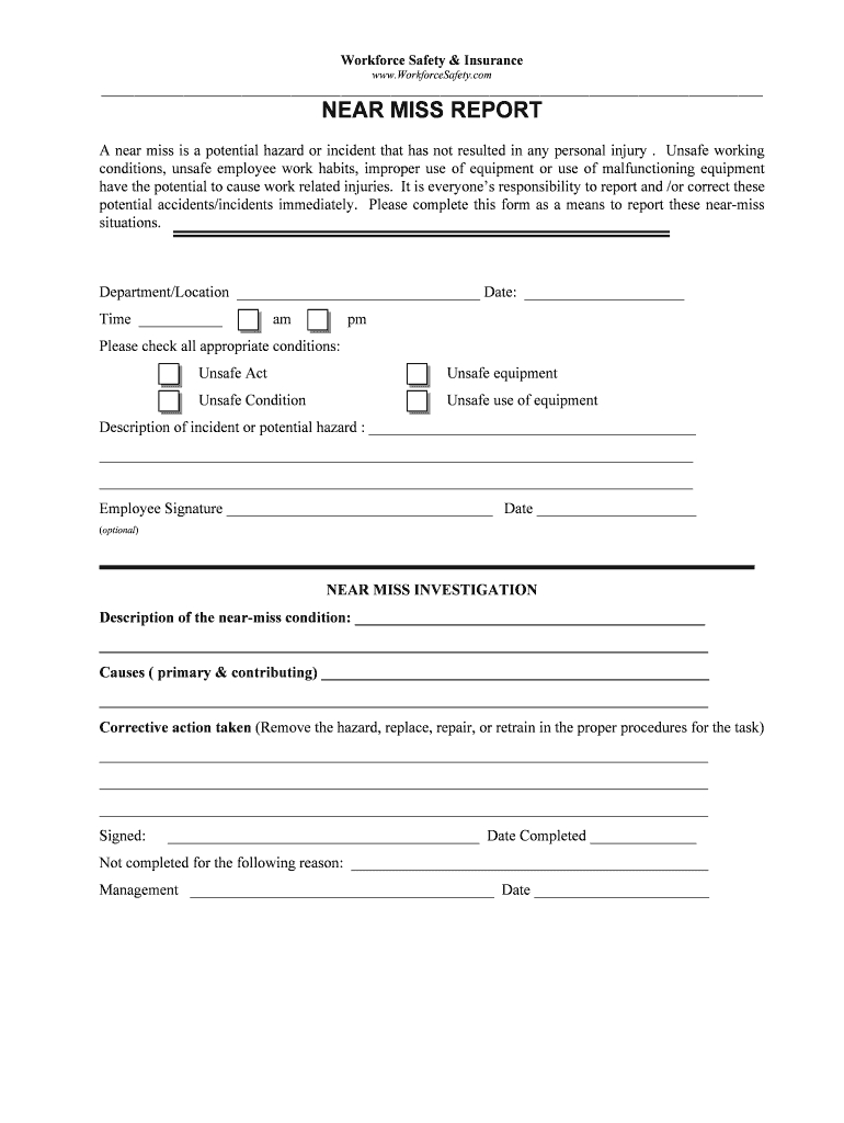 Near Miss Reporting Form - Fill Online, Printable, Fillable For Near Miss Incident Report Template