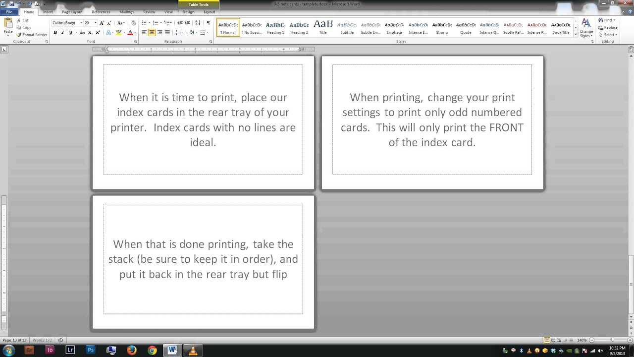 Note/index Cards - Word Template For Word Cue Card Template