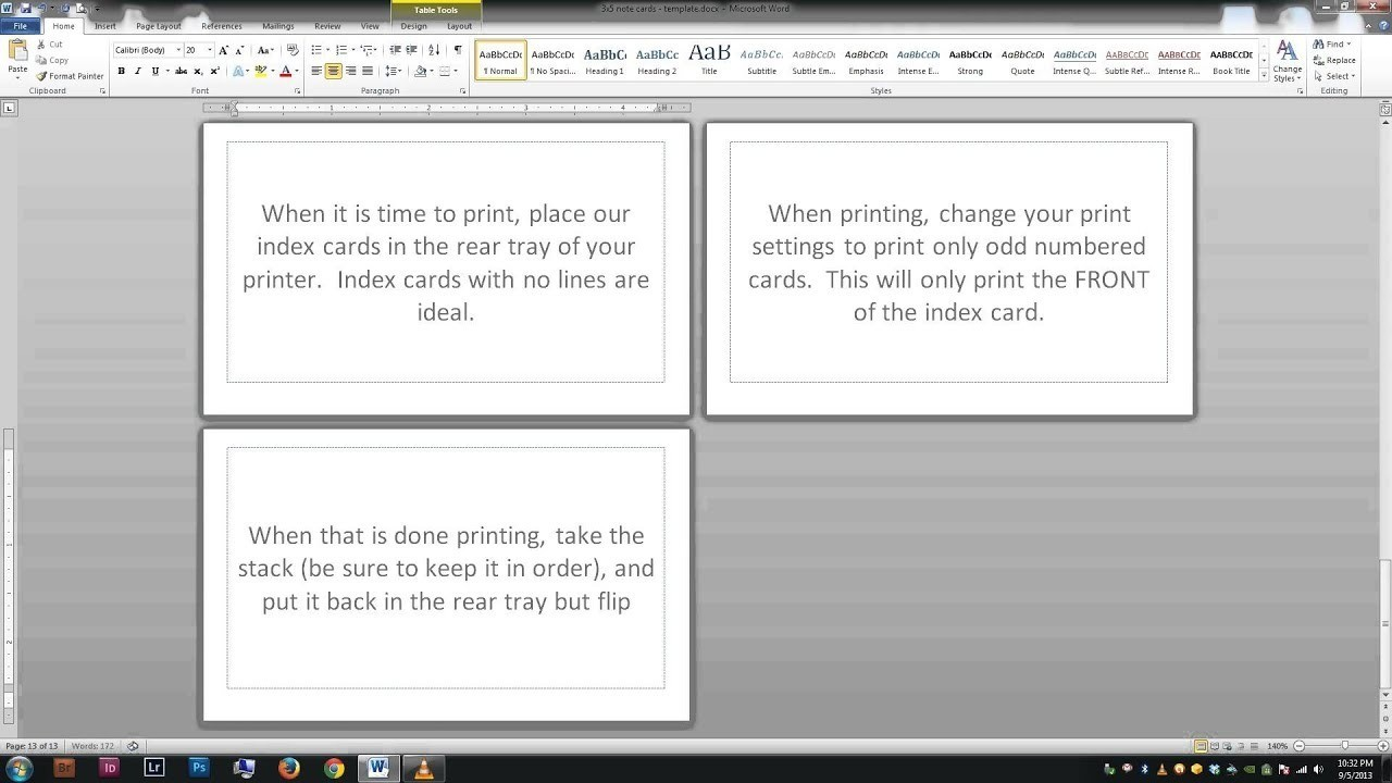 Note/index Cards – Word Template Within 3X5 Blank Index Card Template