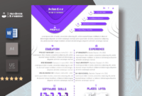 One Page Resume Template & Cover Letter For Microsoft Word | Clean Resume |  Professional Cv | Instant Download | 100% Customizable with regard to Microsoft Word Cover Page Templates Download