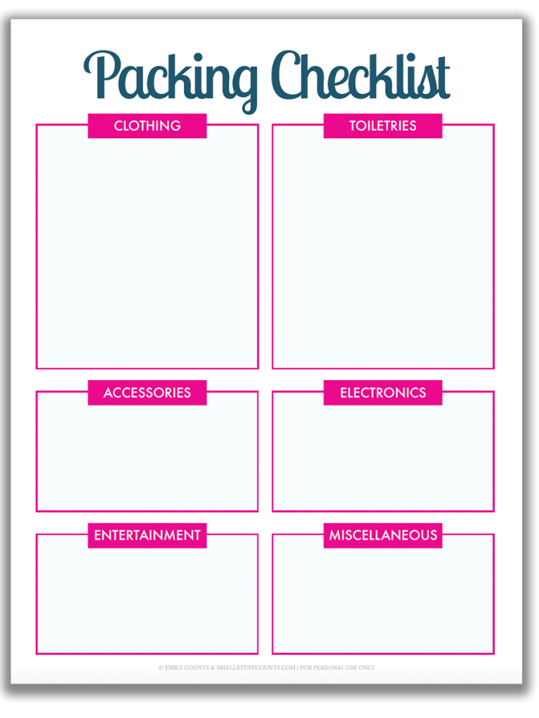 Organized Travel: A Free Printable Packing List For Your With Blank Packing List Template