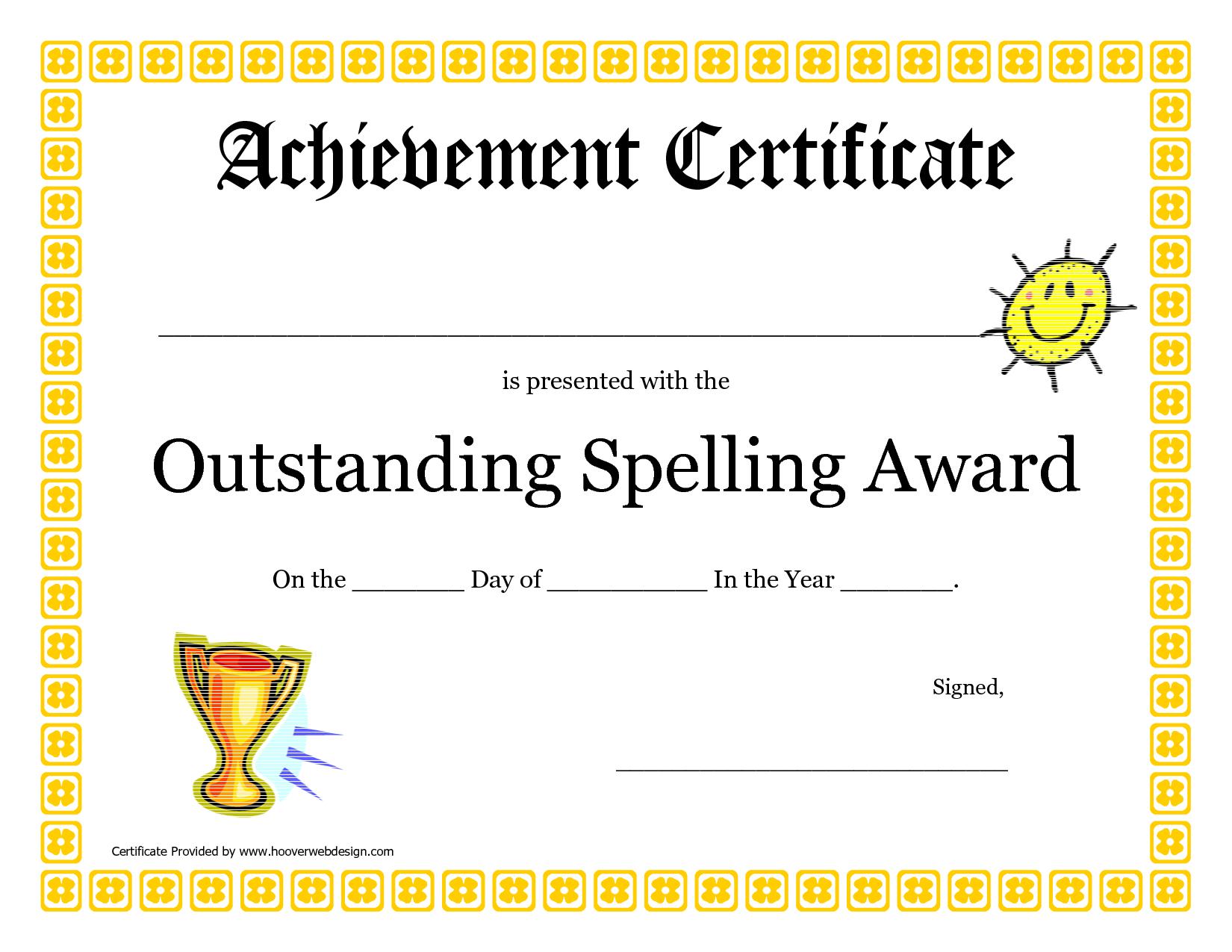 Outstanding Spelling Award Printable Certificate Pdf Picture In Spelling Bee Award Certificate Template