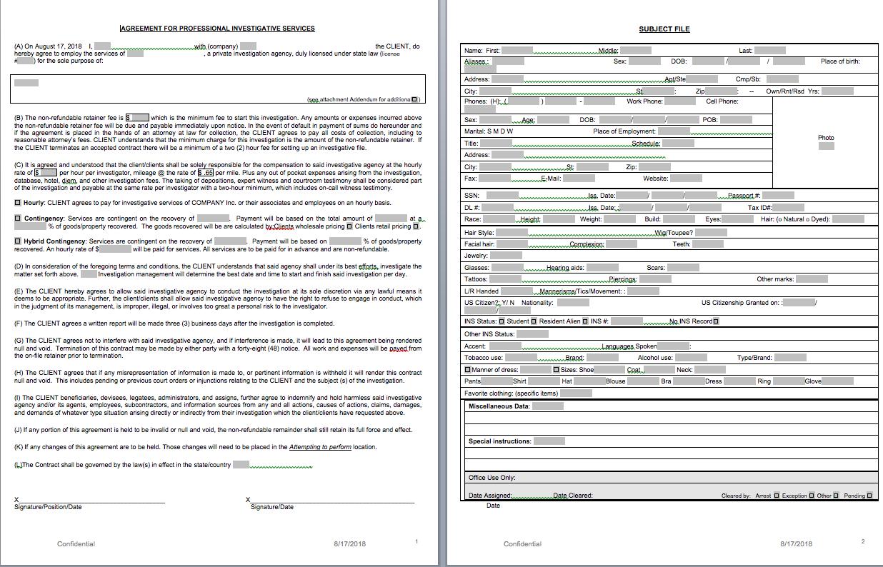 P.i. Forms - Pitraininghq With Regard To Private Investigator Surveillance Report Template
