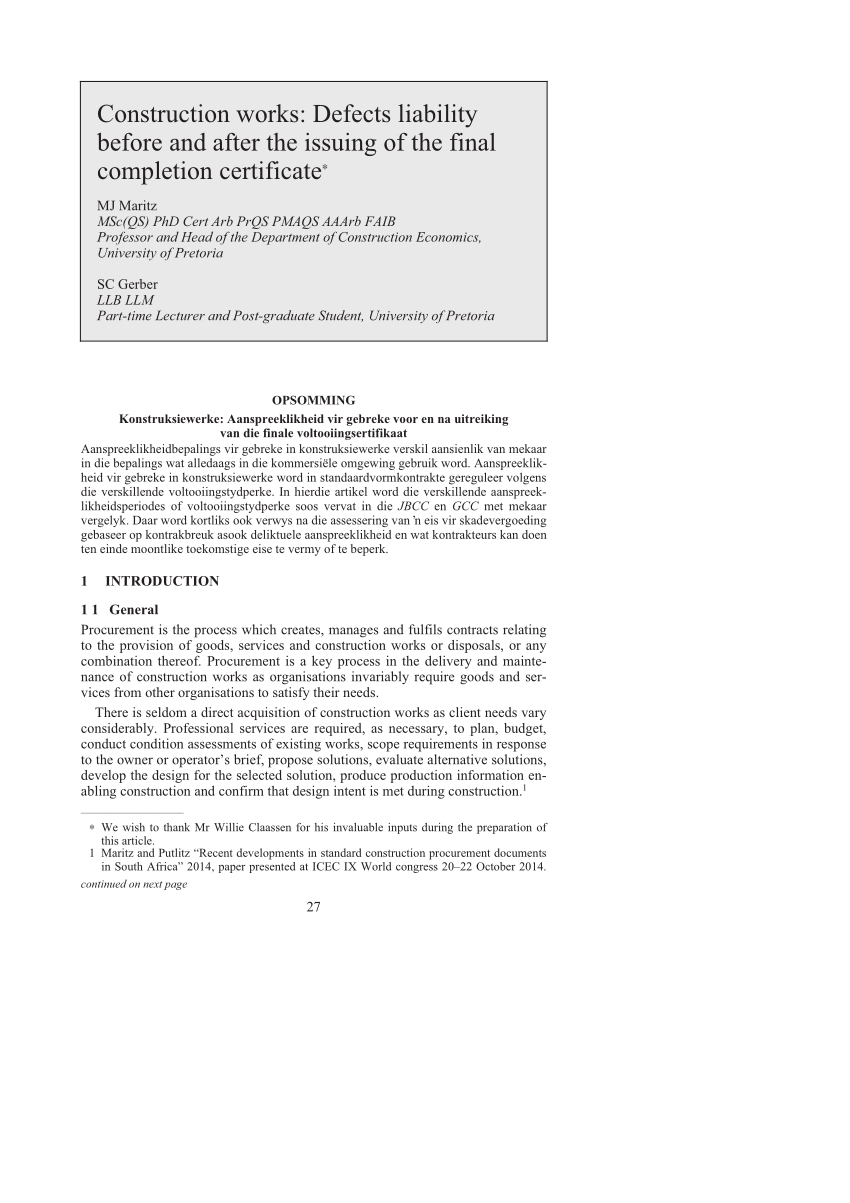 Pdf) Construction Works: Defects Liability Before And After Intended For Jct Practical Completion Certificate Template