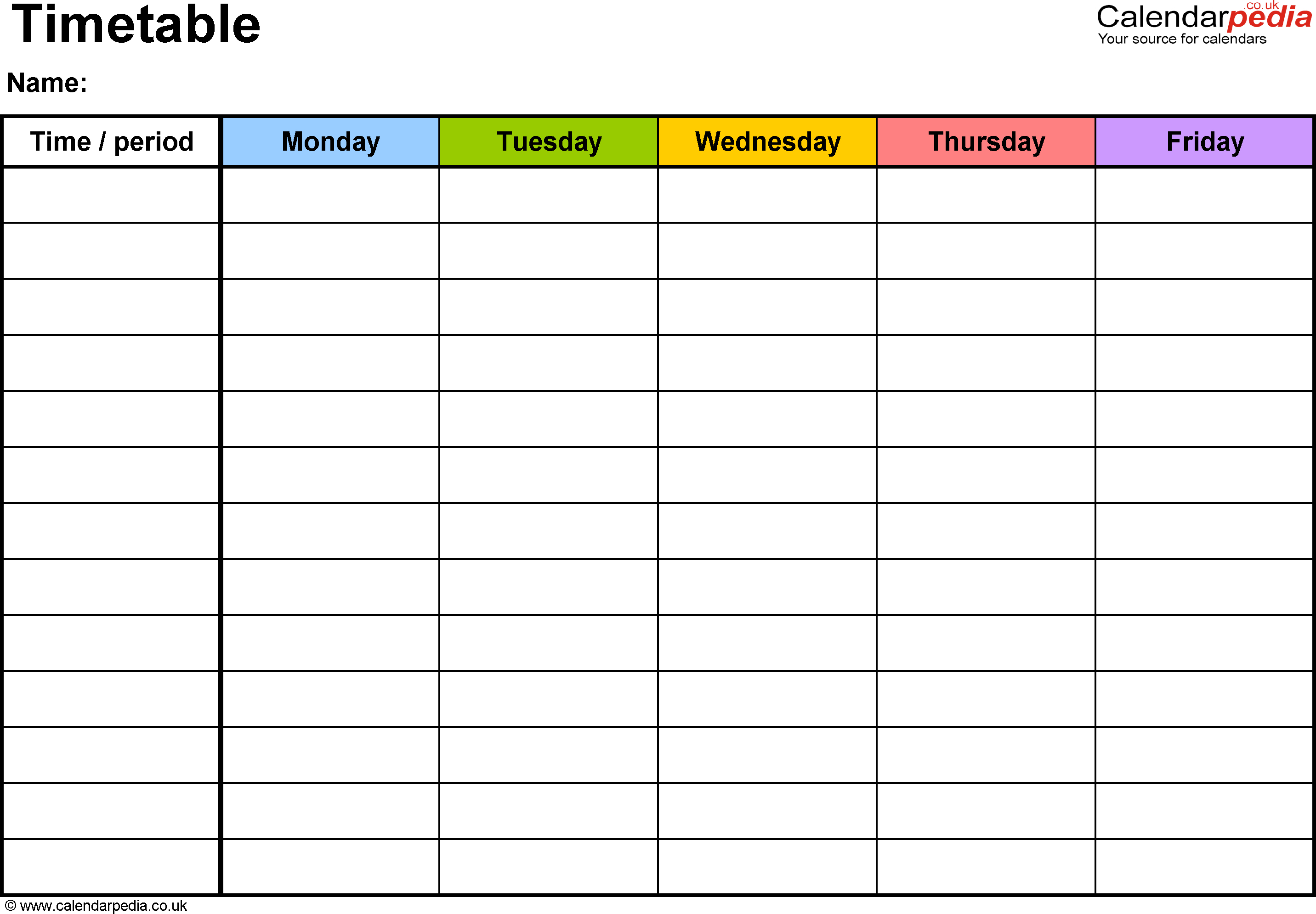 Pdf Timetable Template 2: Landscape Format, A4, 1 Page In Blank Revision Timetable Template