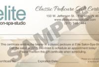 Pedicure-Gift-Certificate-Sample – Elite Salon Spa Studio regarding Spa Day Gift Certificate Template