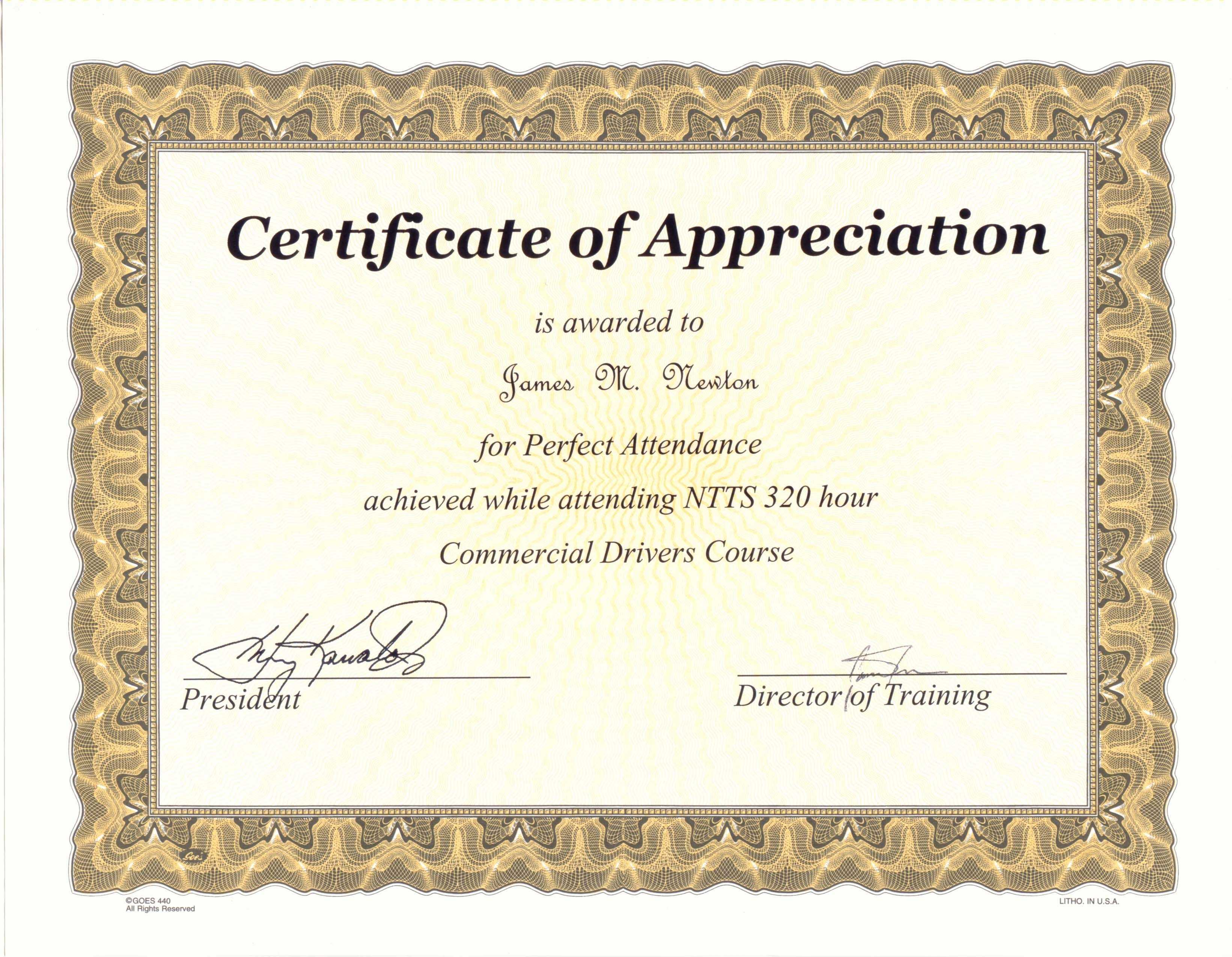 Perfect Attendance Award Certificate Template … | Award Within Perfect Attendance Certificate Template
