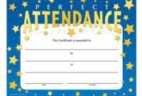 Perfect Attendance Stars Design Gold Foil-Stamped Certificate inside Perfect Attendance Certificate Template