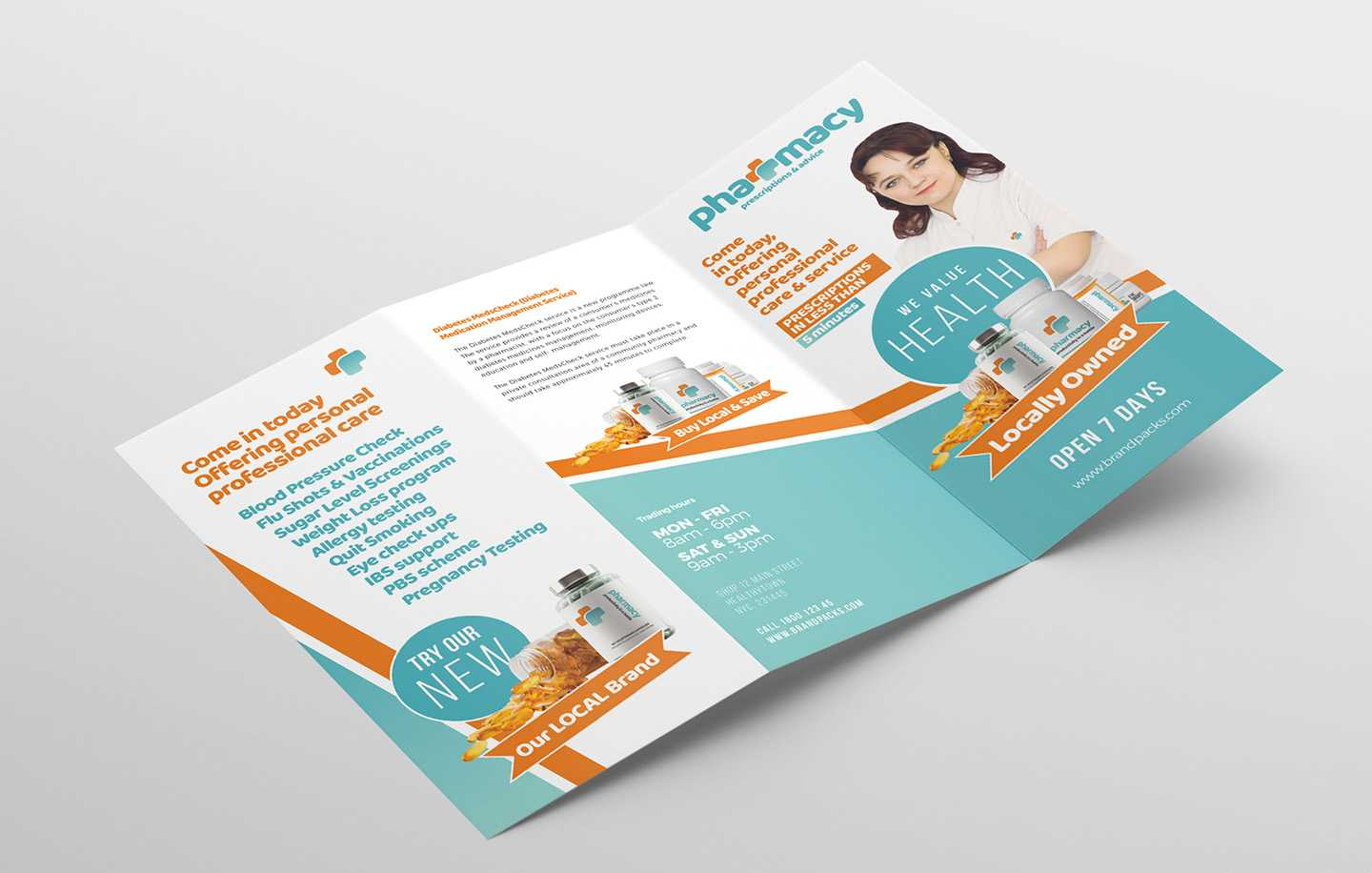 Pharmacy Tri Fold Brochure Template - Psd, Ai & Vector With Pharmacy Brochure Template Free