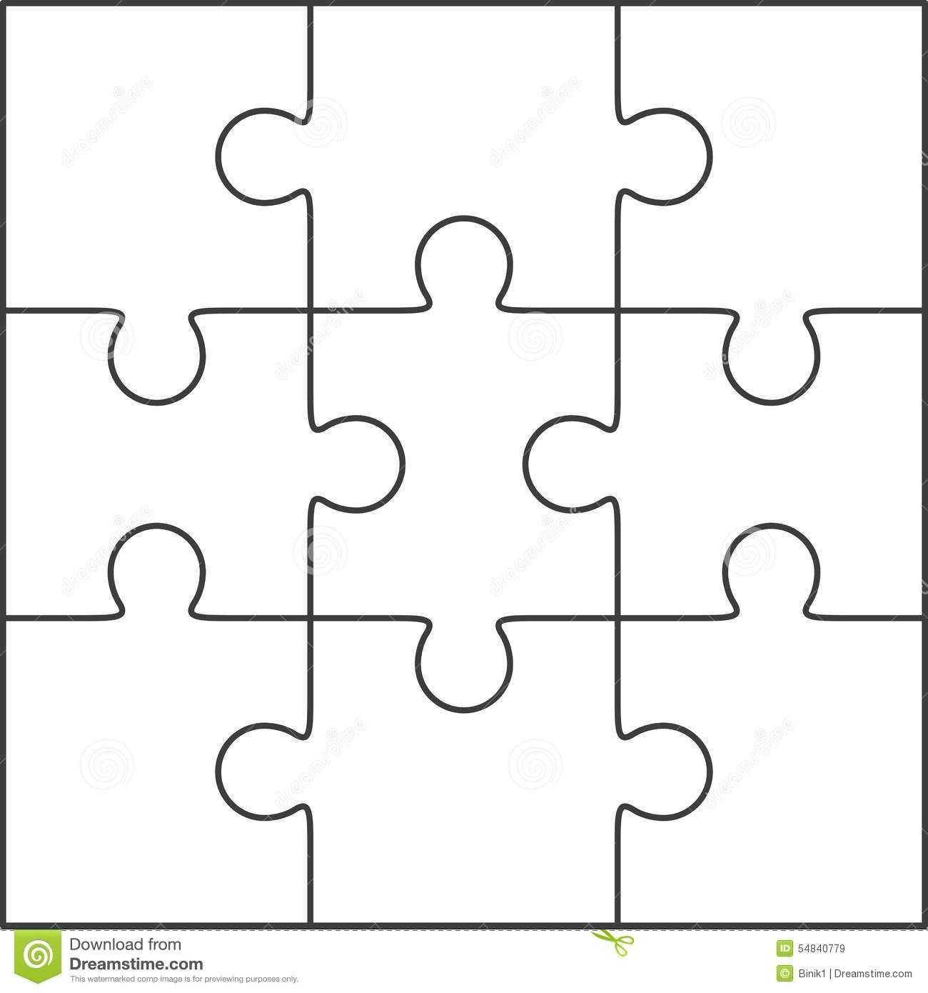 Photo About Jigsaw Puzzle , Blank Simple Template 3X3 Inside Blank Jigsaw Piece Template