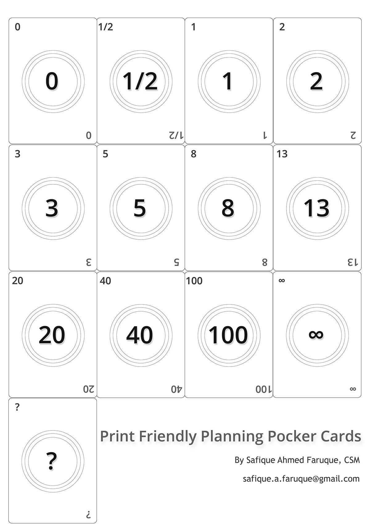 Picture: Agile Planning Poker Cards. Black And White Print Within Planning Poker Cards Template
