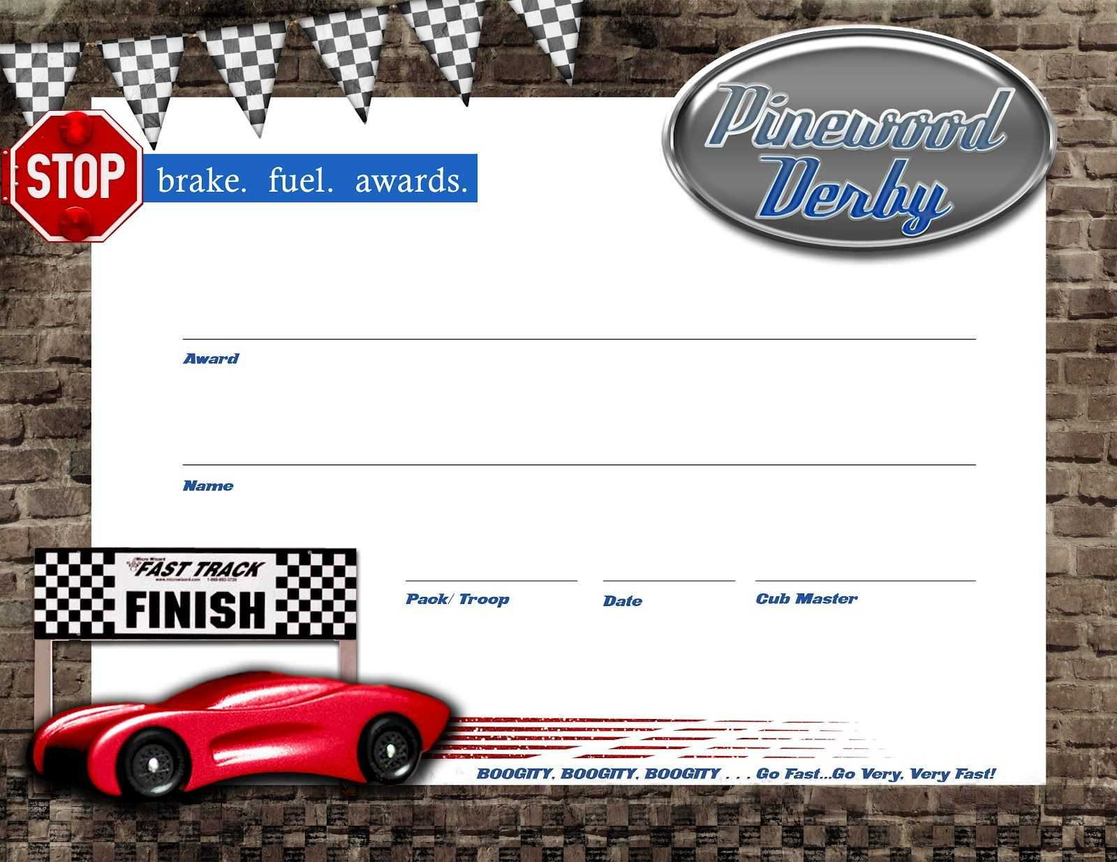 Pin On Boy Scouts/cub Scouts In Pinewood Derby Certificate Template