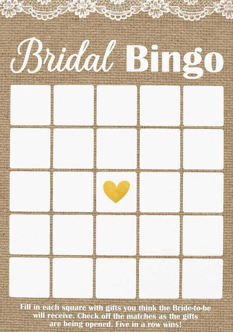 Pin On Bridal Shower In Blank Bridal Shower Bingo Template