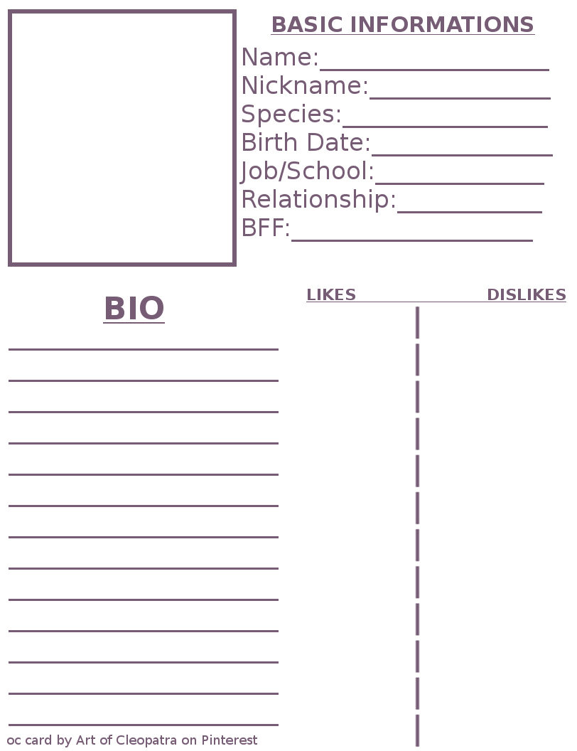 Pinmimi Stovall On Art Work In 2019 | Character In Bio Card Template