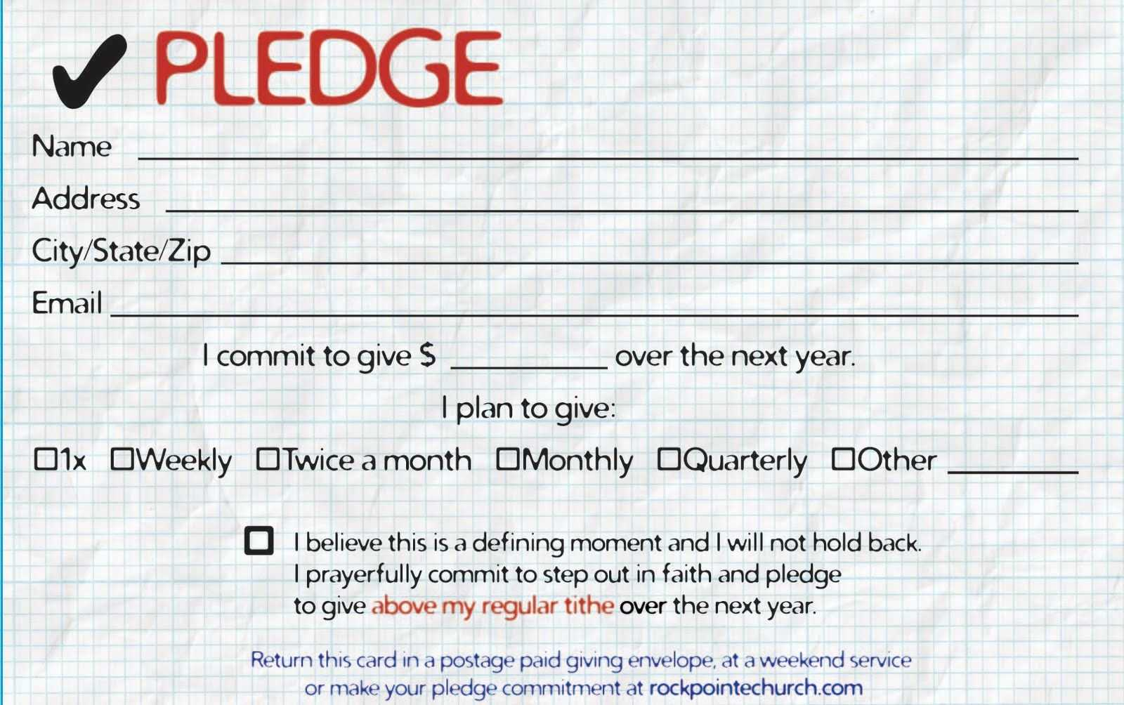Pledge Cards For Churches   Pledge Card Templates   My Stuff Intended For Fundraising Pledge Card Template