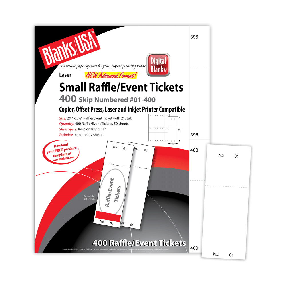 Pm Sku: Lts805B6Wh) - Raffle Tickets, Numbered, White, 2 1/8 Inside Blanks Usa Templates