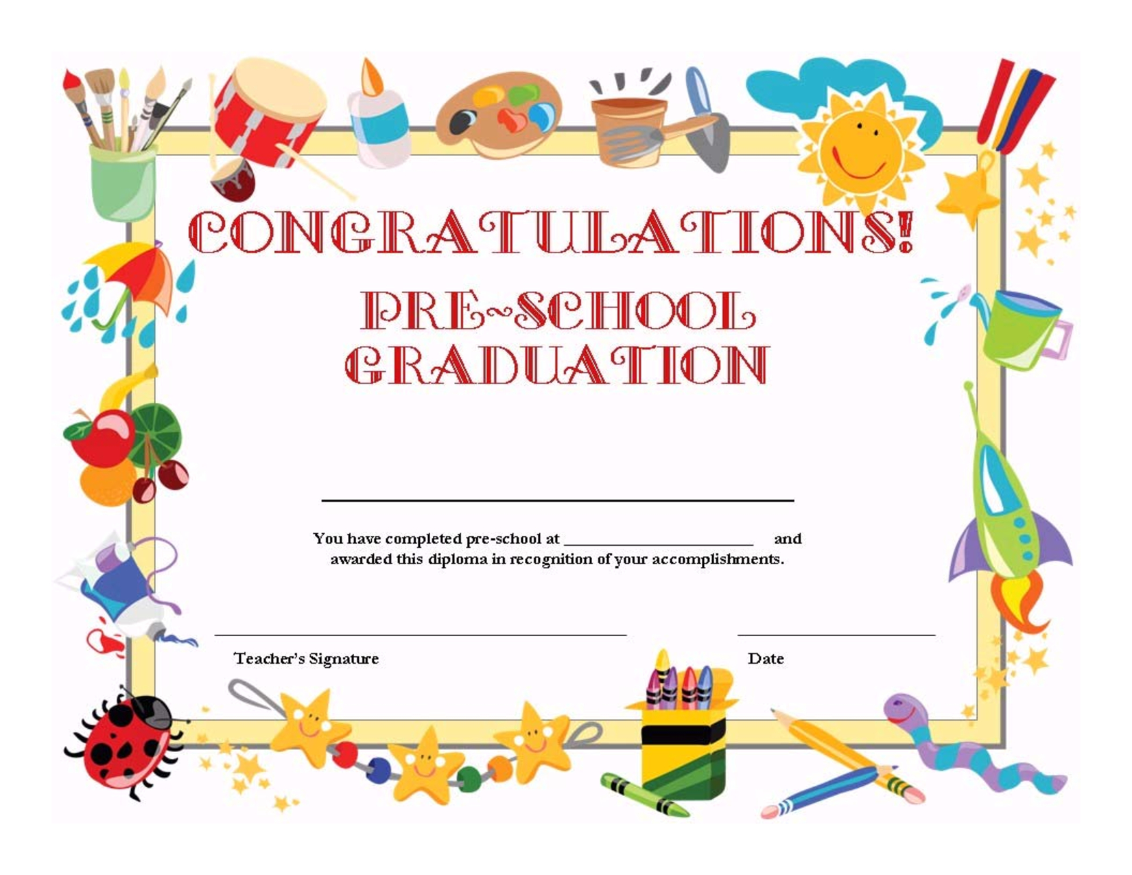 Preschool Graduation Certificate Template Free Pertaining To 5Th Grade Graduation Certificate Template