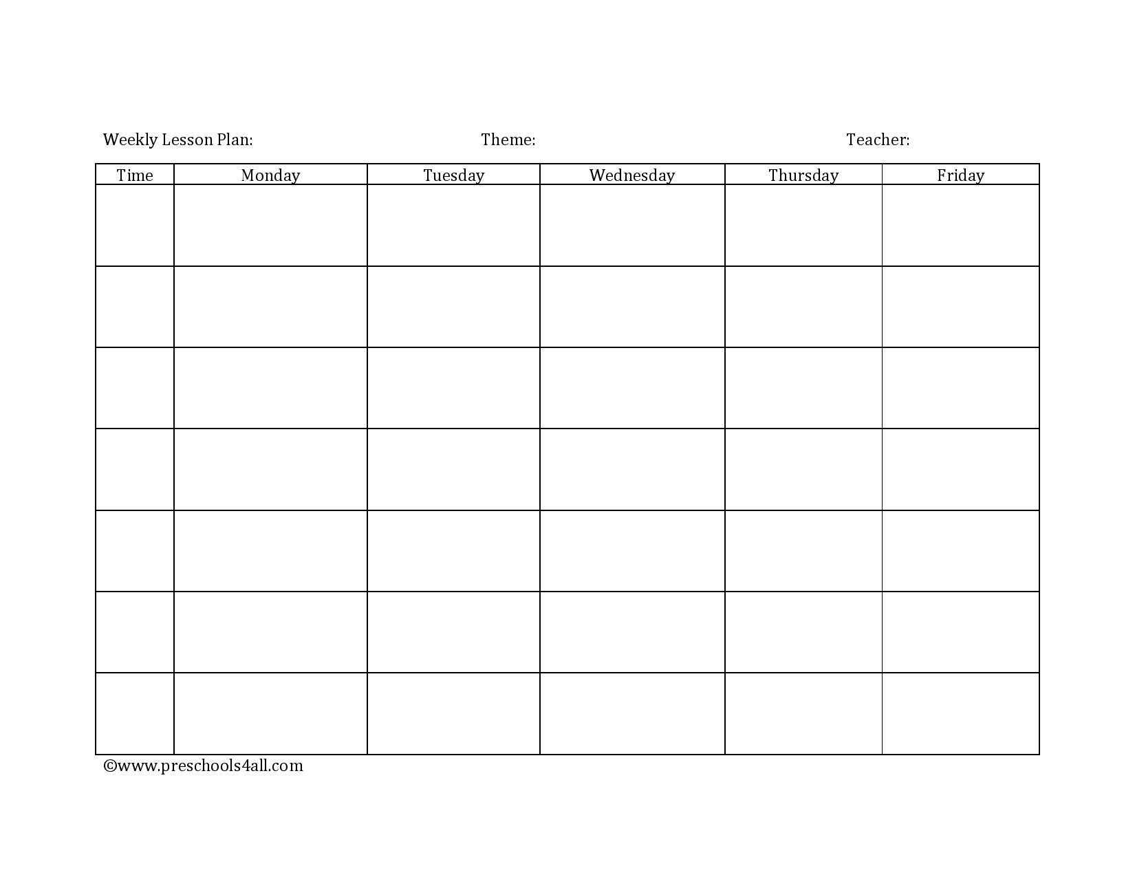 Preschool Lesson Plan Template - Lesson Plan Book Template Pertaining To Teacher Plan Book Template Word