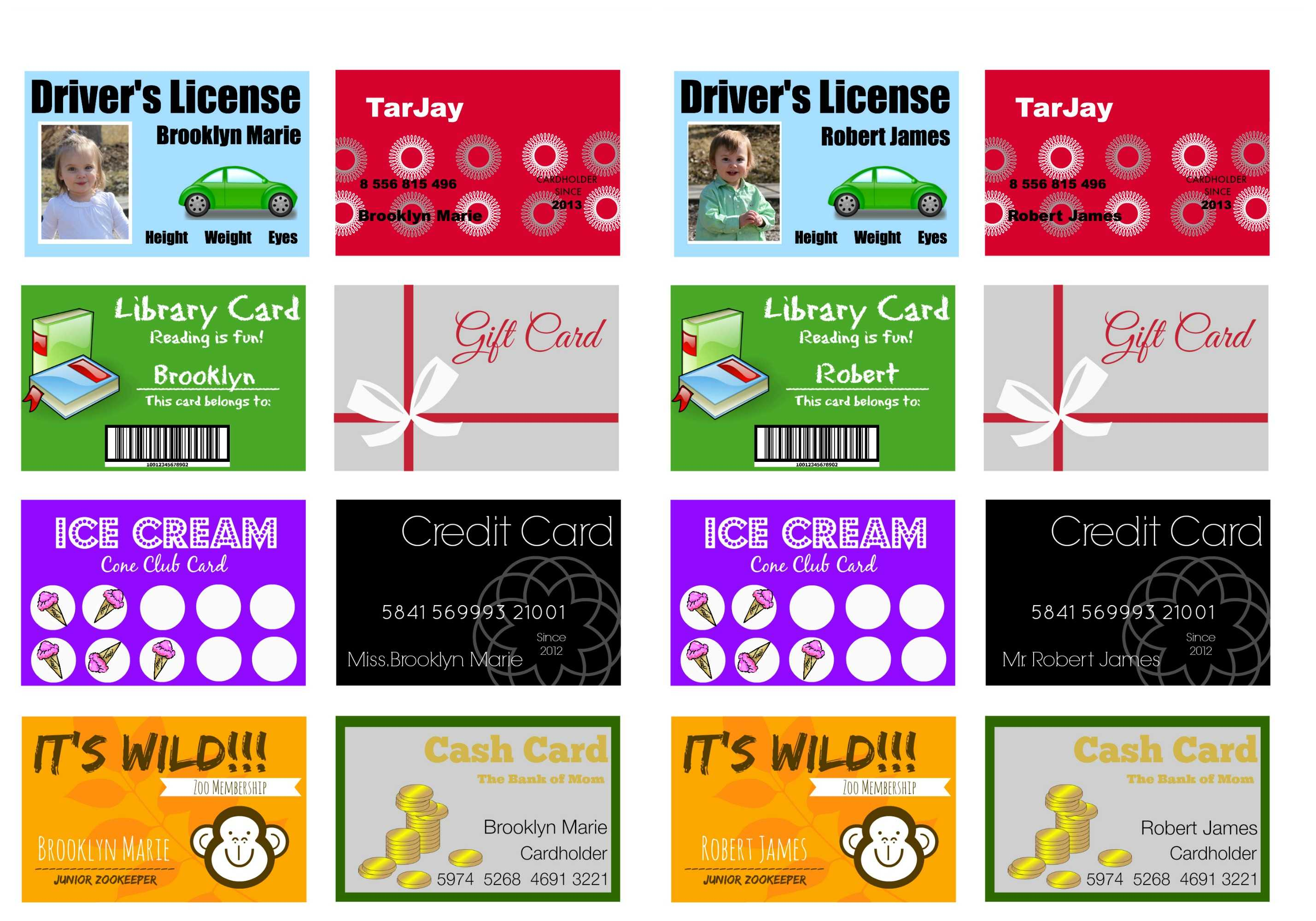 Printable (And Customizable) Play Credit Cards - The Crazy Throughout Credit Card Template For Kids