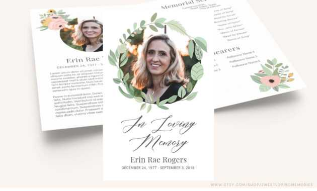 Printable Funeral Program Template | Greenery Memorial pertaining to Memorial Brochure Template