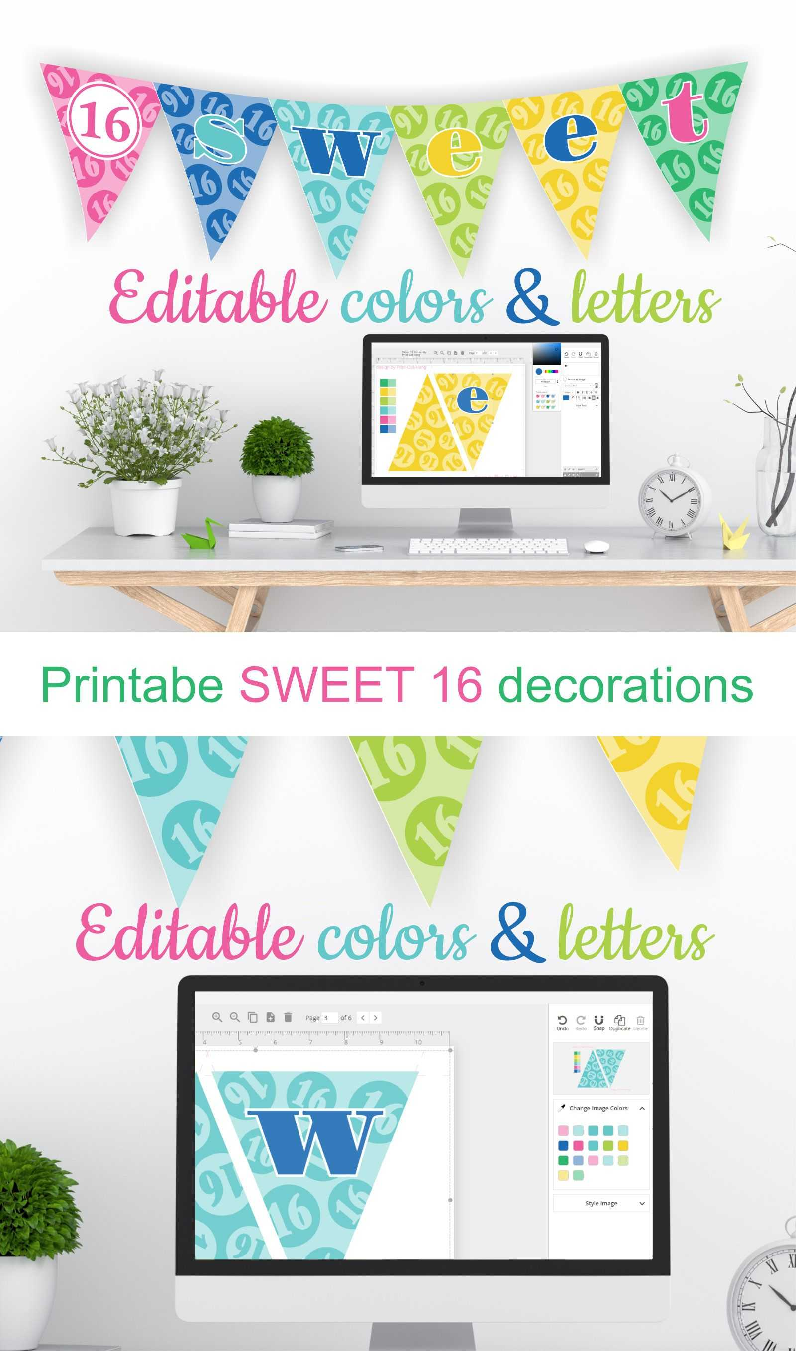 Printable Sweet 16 Decorations - Editable Banner - Customize Throughout Sweet 16 Banner Template