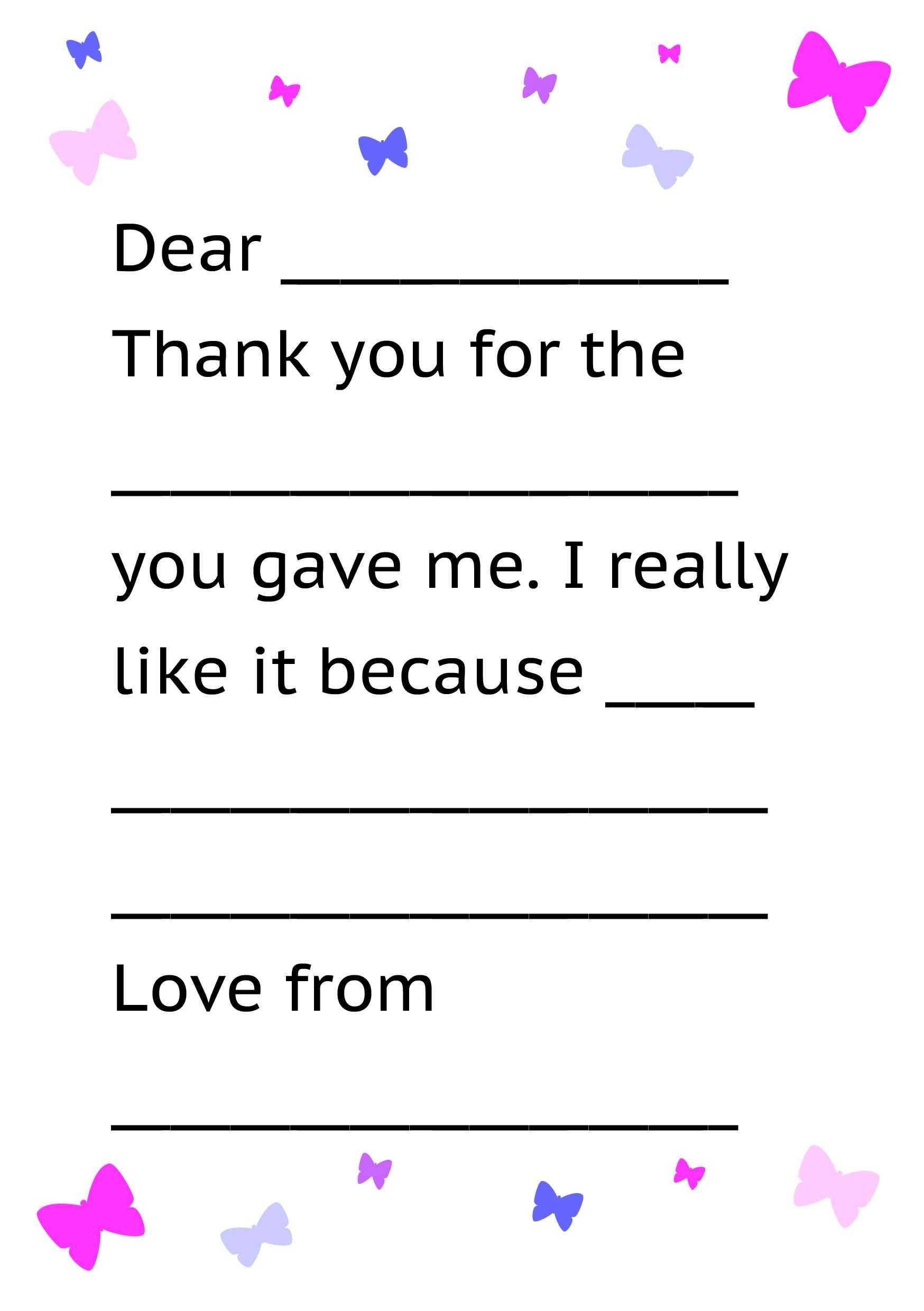 Printable Thank You Card Template For Kids | Kids Thank Yous Within Thank You Note Card Template