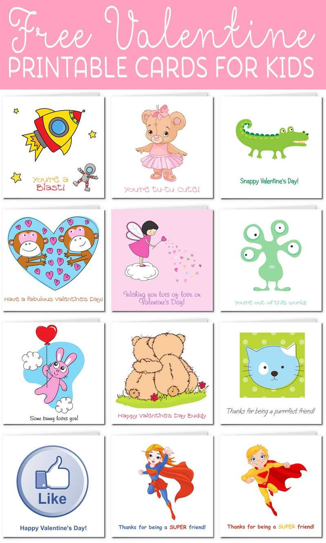 Printable Valentine Cards For Kids Intended For Valentine Card Template For Kids