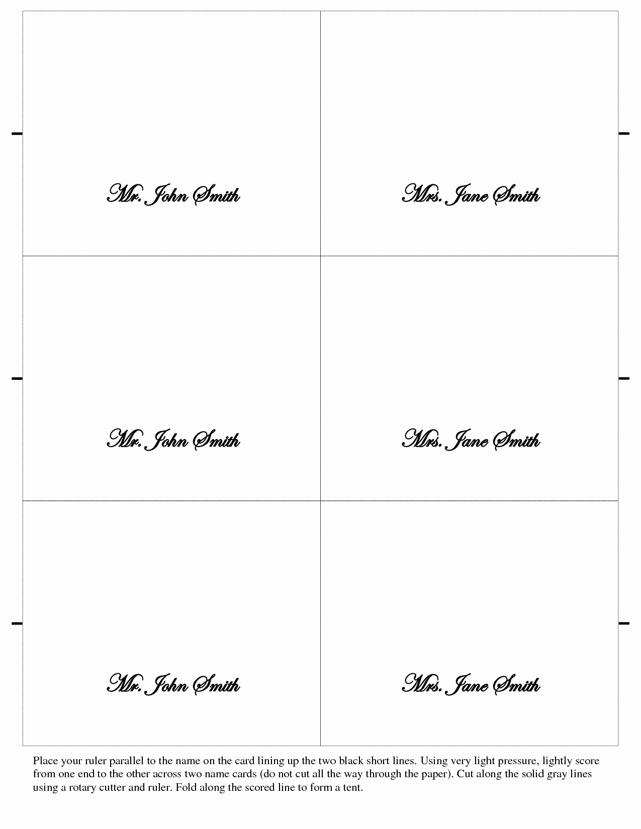 Printable Wedding Place Cards Template Of 7 Best Of Free Within Free Place Card Templates Download