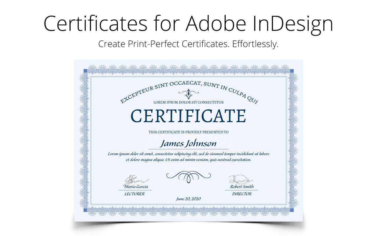 Printperfect - Certificate Templates For Indesign Throughout Indesign Certificate Template
