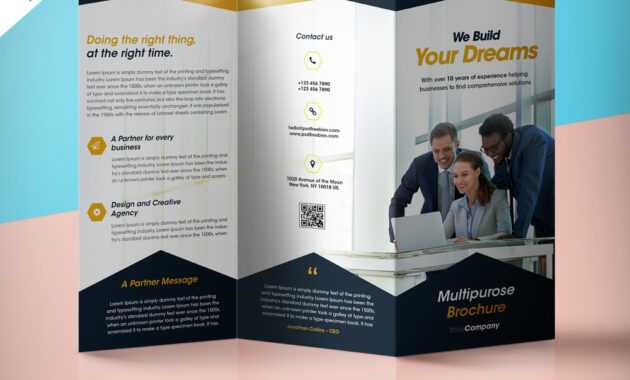 Professional Corporate Tri-Fold Brochure Free Psd Template with 3 Fold Brochure Template Psd