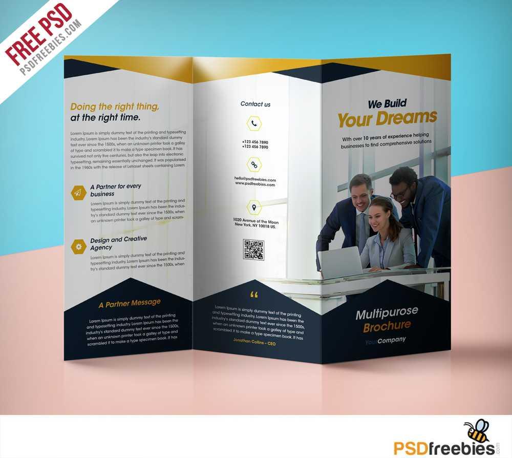 Professional Corporate Tri Fold Brochure Free Psd Template With 3 Fold Brochure Template Psd