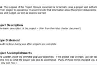 Project Closure Report Template inside Closure Report Template