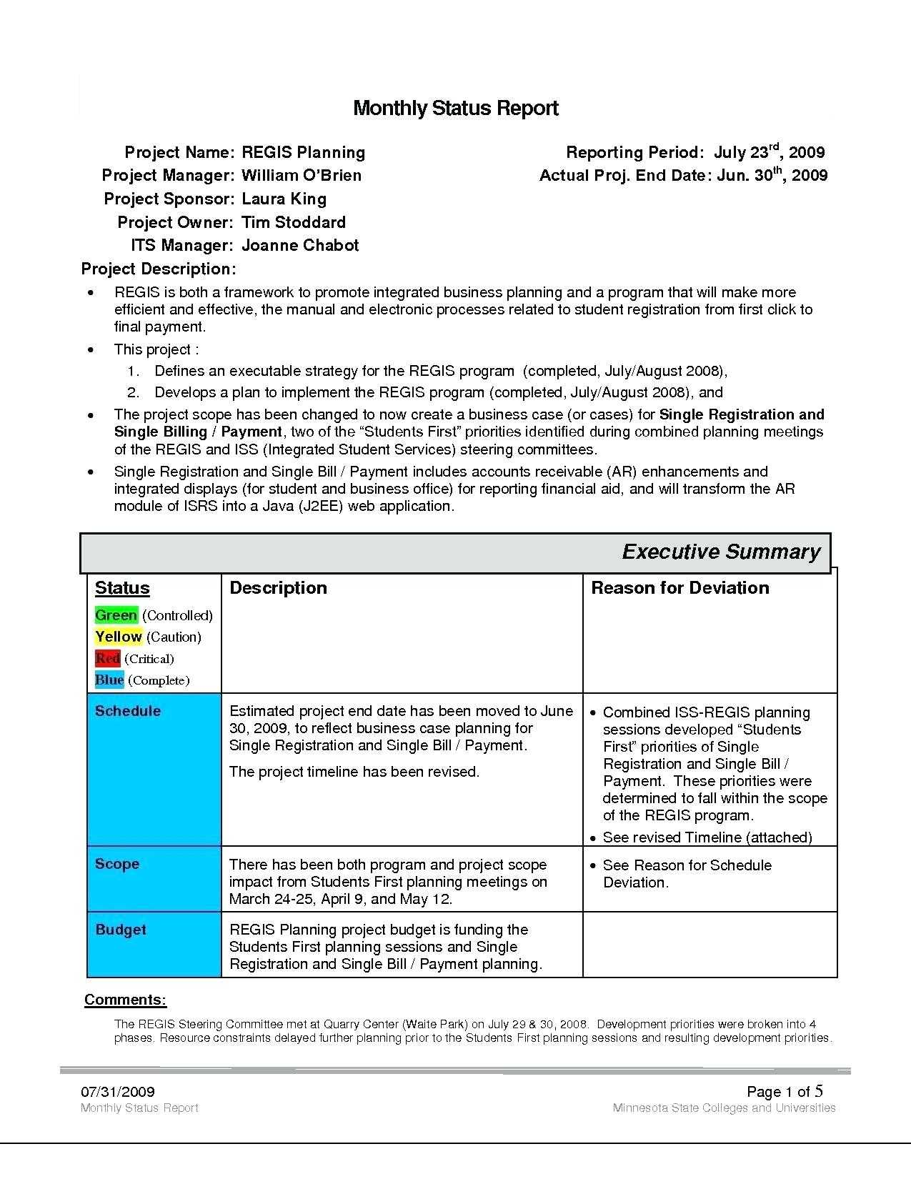 Project Management Status Report Template Reports Format Intended For Project Monthly Status Report Template