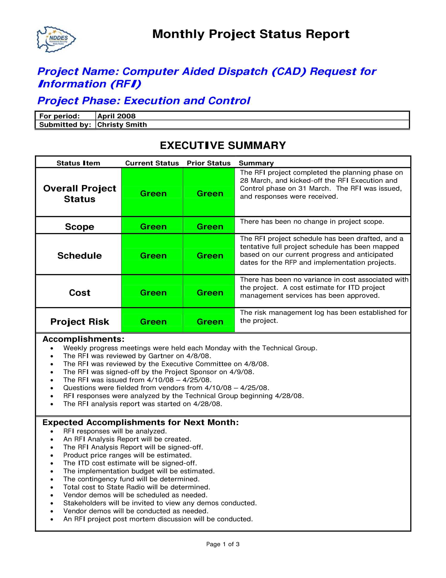 Project Monthly Status Report Template - Atlantaauctionco Inside Project Monthly Status Report Template