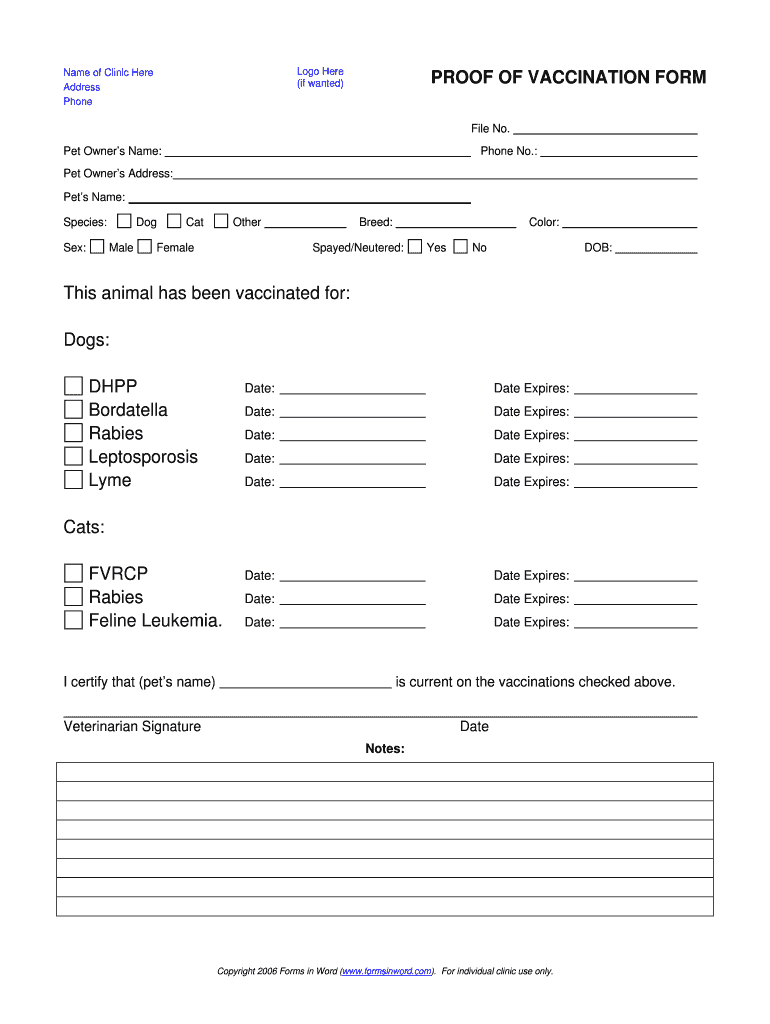Proof Vaccination Dog - Fill Online, Printable, Fillable For Dog Vaccination Certificate Template