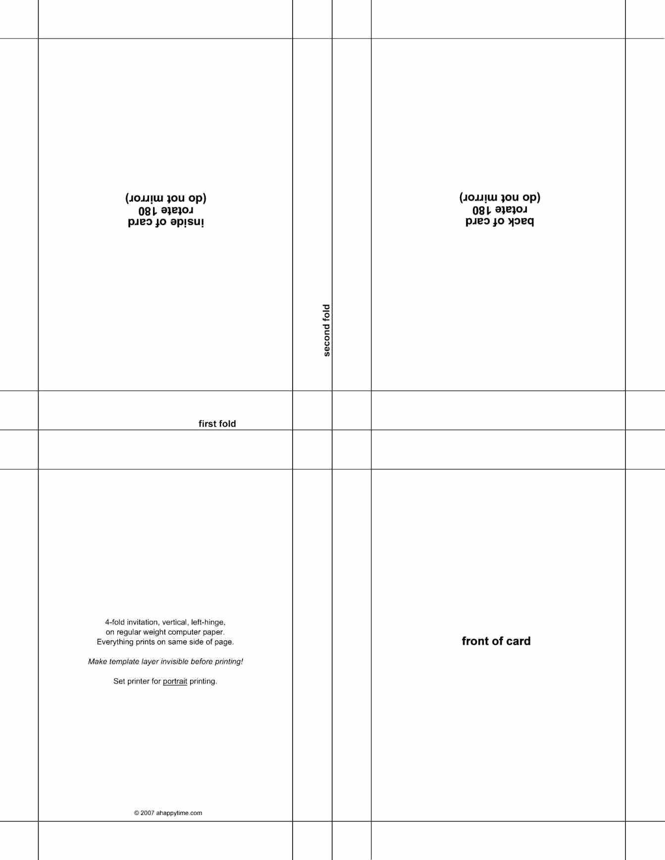 Quarter Fold Card Template Word Intended For Half Fold Greeting Card Template Word